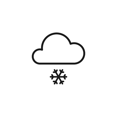 Black isolated outline icon of cloud with snow on white background. Line Icon of snowfall