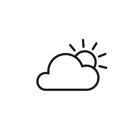 Black isolated outline icon of cloud and sun on white background. Line Icon of partially cloudy Çizim