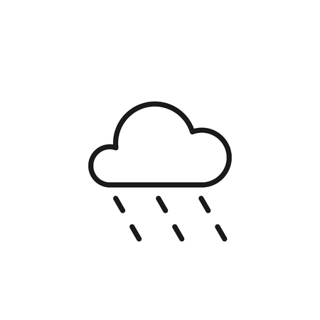 Black isolated outline icon of cloud with rain on white background. Line Icon of rainy cloud