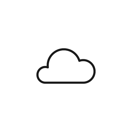 Black isolated outline icon of cloud on white background. Line Icon of cloud Ilustração