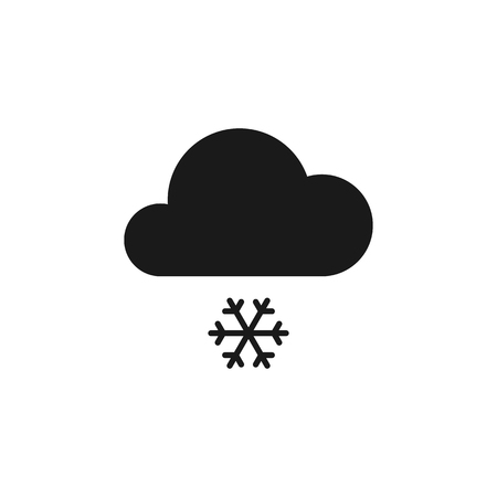 Black isolated icon of cloud with snow on white background. Silhouette of snowfall. Flat design Ilustração