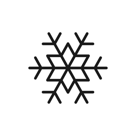 Black isolated outline icon of snowflake on white background. Line Icon of snowflake
