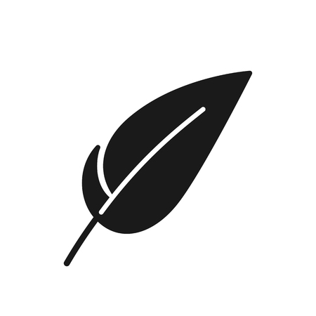 Black isolated icon of feather on white background. Silhouette of feather. Flat design Ilustração