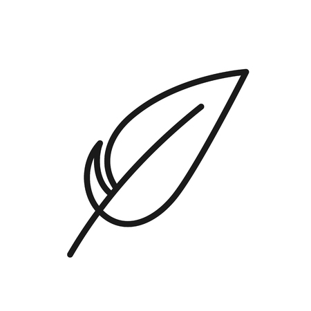 Black isolated outline icon of feather on white background. Line Icon of feather Ilustração