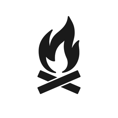 Black isolated icon of bonfire, flame on white background. Silhouette of fire. Flat design Ilustração
