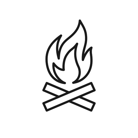 Black isolated outline icon of bonfire on white background. Line Icon of bonfire