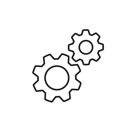 Black isolated outline icon of two cogwheels on white background. Line icon of gear wheel. Settings