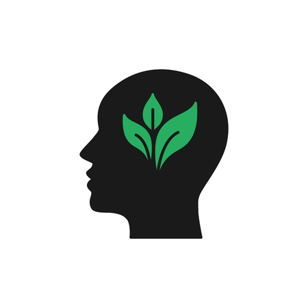 Black isolated icon of head of man and green leaf on white background. Silhouette of head of man. Eco think. Thunk green. Flat design Ilustração