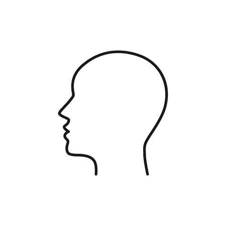 Black isolated outline icon of head on white background. Line Icon of head. Profile