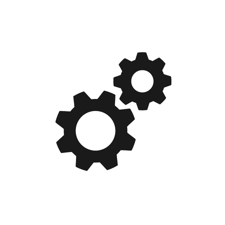 Black isolated icon of two cogwheels on white background. Silhouette of gear wheel. Flat design. Settings