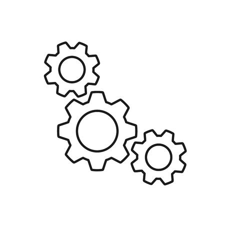 Black isolated outline icon of three cogwheels on white background. Line icon of gear wheel. Settings Ilustração