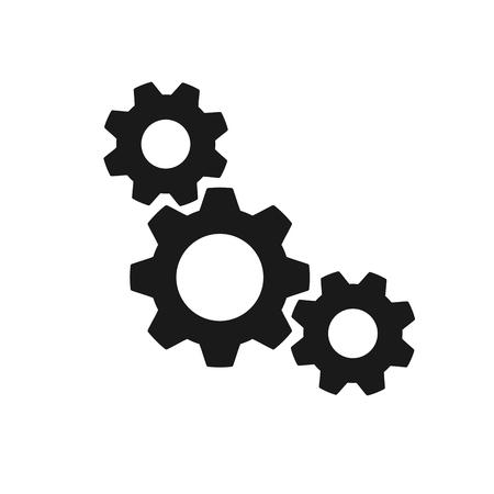 Black isolated icon of three cogwheels on white background. Silhouette of gear wheel. Flat design. Settings Ilustração