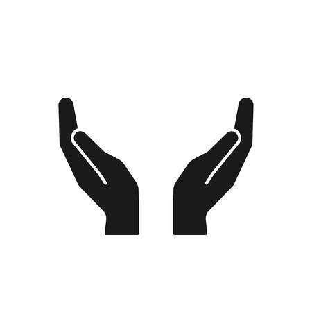 Black isolated icon of two hands on white background. Silhouette of hands. Flat design Ilustração