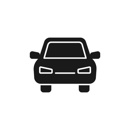 Black isolated icon of car on white background. Silhouette of automobile, Flat design. Front view