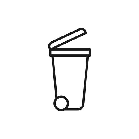 Black isolated outline icon of dumpster on white background. Line Icon of bin for trash