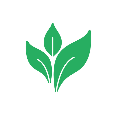 Green isolated icon of leaf on white background. Silhouette of plant. Flat design