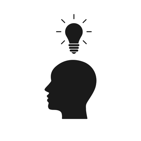 Black isolated icon of head of man and light bulb on white background. Silhouette of head of man and light bulb. Symbol of idea Flat design