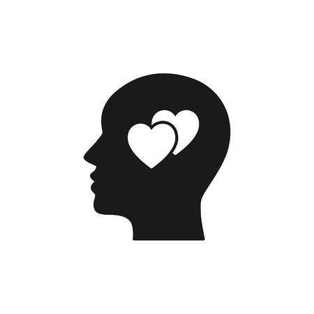 Black isolated icon of head of man and two hearts on white background. Silhouette of head of man and hearts. Love think Flat design Ilustração