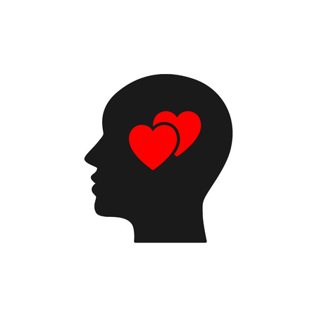 Black isolated icon of head of man and two red hearts on white background. Silhouette of head of man and hearts. Love think. Flat design