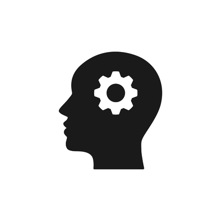 Black isolated icon of head of man and cogwheel on white background. Silhouette of head and gear wheel. Flat design