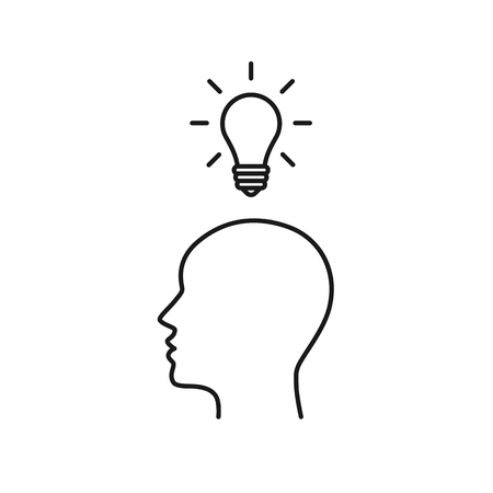 Black isolated outline icon of head of man and light bulb on white background. Line icon of head of man and light bulb. Symbol of idea Ilustração
