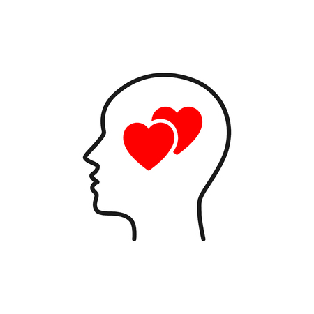 Black isolated outline icon of head of man and two red hearts on white background. Line icon of head of man and hearts. Love think. Flat design