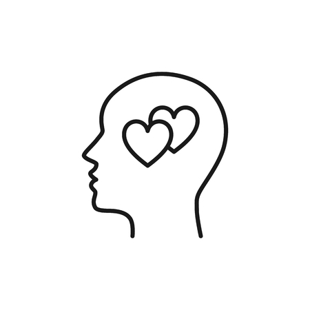 Black isolated outline icon of head of man and two hearts on white background. Line icon of head of man and hearts. Love think. Flat design Ilustração