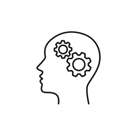 Black isolated outline icon of head of man and cogwheel on white background. Line icon of head and gear wheel Ilustração