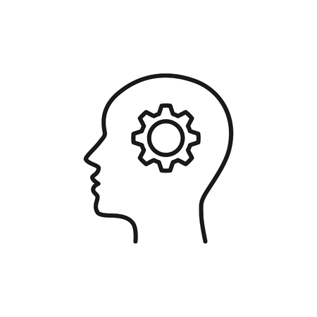 Black isolated outline icon of head of man and cogwheel on white background. Line icon of head and gear wheel. Flat design Ilustração