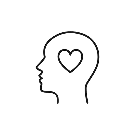 Black isolated outline icon of head of man and heart on white background. Line icon of head of man. Love think. Flat design Ilustração
