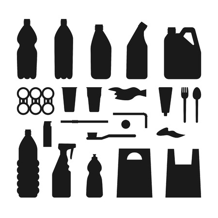 Set of black plastic objects on white background. Silhouette of plastic garbage Bottle, bag, straw, spoon, fork. Plastic pollution