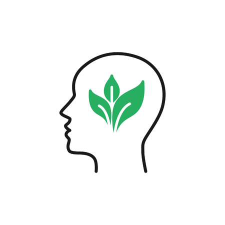 Black isolated outline icon of head of man and green leaf on white background. Line icon of head of man. Eco think. Think green. Flat design