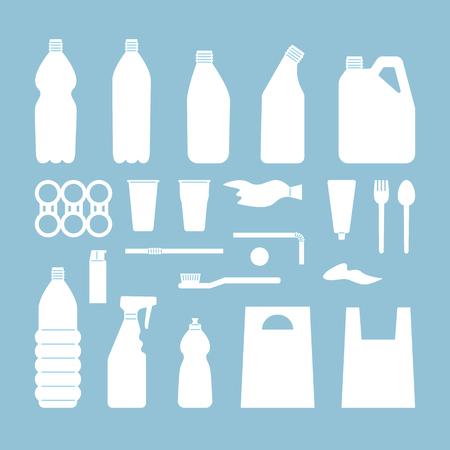 Set of white plastic objects on blue background. Silhouette of plastic garbage. Bottle, bag, straw, spoon, fork. Plastic pollution Ilustração