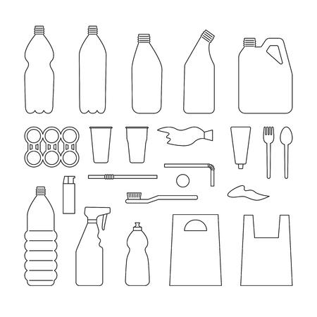 Set of black outline plastic objects on white background. Plastic garbage. Bottle, bag, straw, spoon, fork. Plastic pollution Ilustração