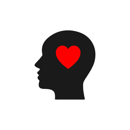 Black isolated icon of head of man and red heart on white background. Silhouette of head of man and heart. Love think. Flat design Illustration