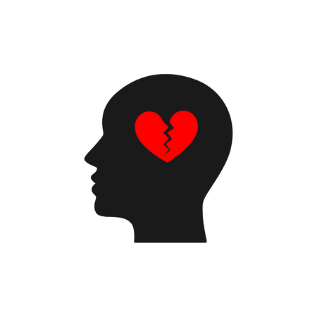 Black isolated icon of head of man and red broken heart on white background. Silhouette of head of man. Symbol of divorce, separation. Flat design