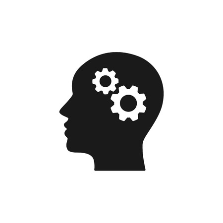 Black isolated icon of head of man and cogwheel on white background. Silhouette of head and gear wheel Flat design