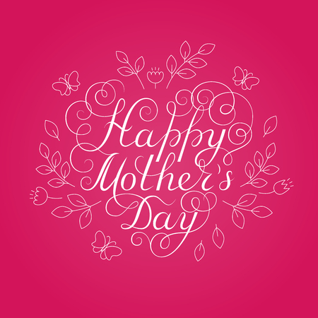 Happy Mothers Day. White ink calligraphy on pink background. Heart shape. Used for greeting card, poster design. Hand drawn english lettering with decoration