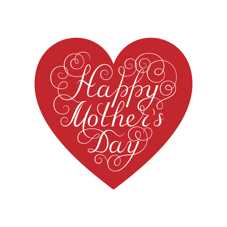 Happy Mother's Day. White ink calligraphy on white background. Red heart shape. Used for greeting card, poster design. Hand drawn english lettering
