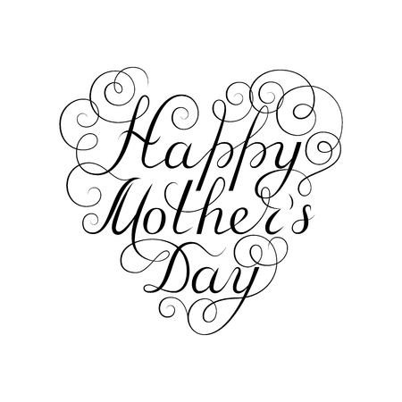 Happy Mothers Day. Black ink calligraphy on white background. Heart shape. Used for greeting card, poster design. Hand drawn english lettering
