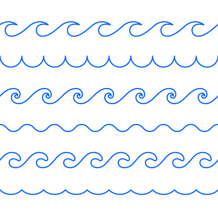 Seamless abstract line pattern. Waves of ocean, sea. Decorative line waves