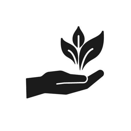 Black isolated icon of hand with leaf, plant on white background. Silhouette of hand with leaf. Bio, eco, gardening