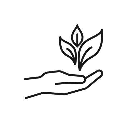 Black isolated outline icon of hand with leaf, plant on white background. Line Icon of hand with leaf 向量圖像