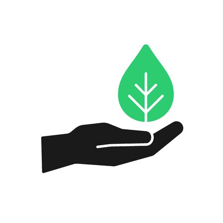 Isolated icon of green plant in black hand on white background. Silhouette of leaf and hand. Symbol of care, protection, charity. Flat design