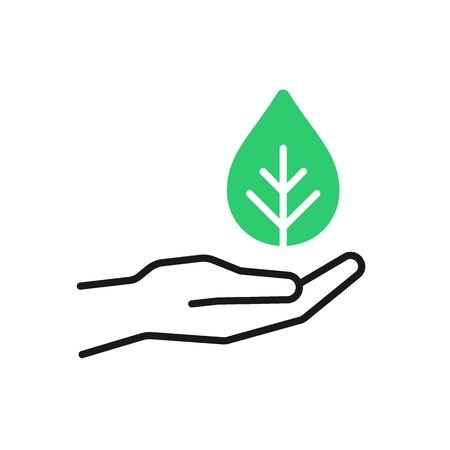 Isolated outline icon of green plant in black hand on white background. Line icon of leaf and hand. Symbol of care, protection, charity. Eco, bio
