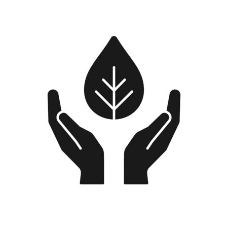 Black isolated icon of plant in hands on white background. Silhouette of leaf and hands. Symbol of care, protection, charity. Flat design