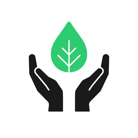 Isolated icon of green plant in black open hands on white background. Silhouette of leaf and hands. Symbol of care, protection, charity