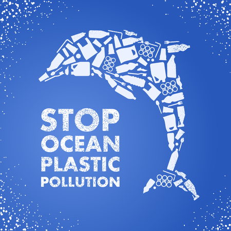 Stop ocean plastic pollution. Ecological poster Dolphin composed of white plastic waste bag, bottle on blue background