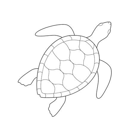 Tortue verte de mer monochrome contour noir isolé sur fond blanc. Lignes courbes. Page de livre de coloriage