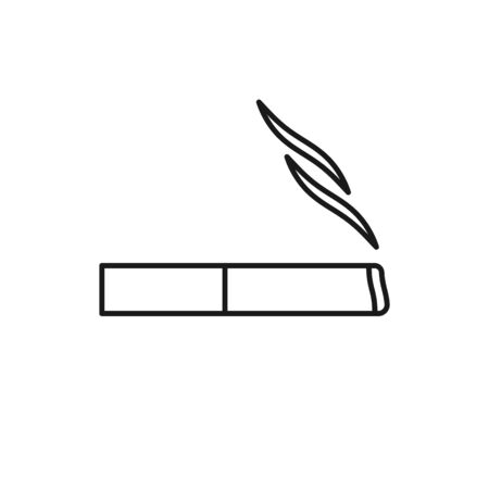 Black isolated outline icon of cigarette on white background Line Icon of cigarette,